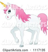 White Unicorn with Pink Hair