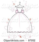 White Wedding Dress with Pink Accents on a Hanger, with Floating Hearts