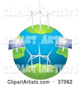 Wind Farm Turbines and Solar Panels Generating Energy on Planet Earth, on a White Background