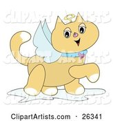 Winged Angel Cat with a Golden Halo and Heart Collar, Prancing by