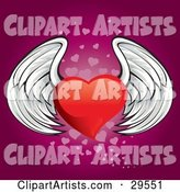Winged Red Heart Flying over a Gradient Pink Background of Faded Small Hearts