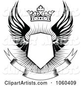 Winged Shield with a Crown and Blank Banner - 2