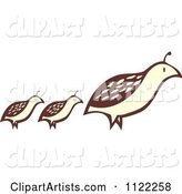 Woodcut Partridge Pheasant Bird and Chicks