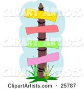 Wooden Sign Post with Yellow, Red, Green and Pink Blank Posts