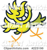 Yellow Chicken Greeting and Smiling
