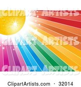 Yellow Disco Ball and Bright Sparkling Light in the Upper Corner of a Rainbow Background