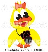 Yellow Duck Girl with a Camera Around Her Neck