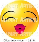 Yellow Emoticon Face Lady with Eyelashes and Pink Lips, Puckering up for a Kiss