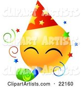 Yellow Emoticon Face Wearing a Party Hat and Blowing on a Noise Maker at a Party