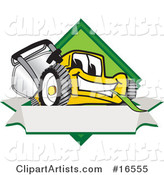 Yellow Lawn Mower Mascot Cartoon Character Facing Front on a Diamond Shaped Logo with a Blank White Banner
