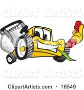 Yellow Lawn Mower Mascot Cartoon Character Holding a Red Telephone