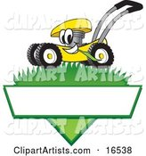 Yellow Lawn Mower Mascot Cartoon Character Mowing Grass over a Blank White Label