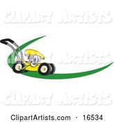 Yellow Lawn Mower Mascot Cartoon Character on a Logo or Nametag with a Green Dash