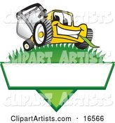 Yellow Lawn Mower Mascot Cartoon Character on a Triangle Logo with a White Label