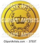 Yellow Luxury Quality Sticker with a Crown and Laurel