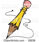 Yellow Pencil with an Eraser Tip, Writing Notes or a Letter