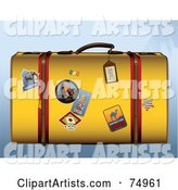 Yellow Retro Suitcase with Travel Stickers