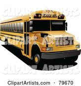 Yellow School Bus with Black Tinted Windows
