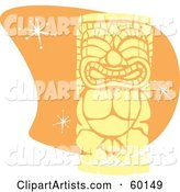 Yellow Tiki Carving in Retro Style, over Orange with Stars