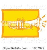 Yellow Woodcut Styled Trumpet