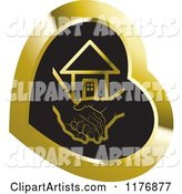 Young Hand Holding a Senior Hand over Black in a Gold Heart
