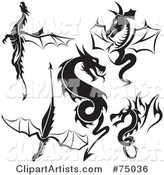 Vector Dragons Clipart by Dero