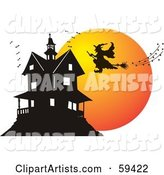 Vector Haunted House Clipart by Pauloribau
