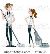 Vector Janitors Clipart by BNP Design Studio