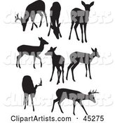 Vector Silhouetted Deer Clipart by JR